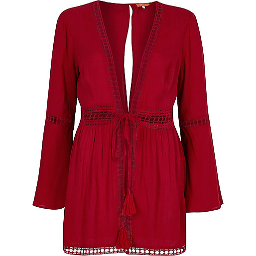 Red lace bell sleeve beach caftan