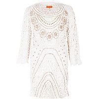 White crochet embellished beach dress