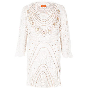 White crochet embellished beach dress