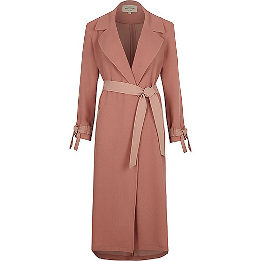 Light pink contrast trench coat