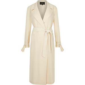 Cream contrast trench coat