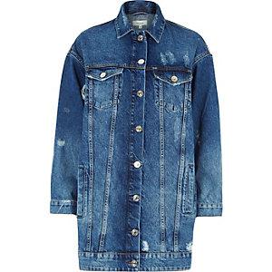 Längere Jeansjacke in mittelblauer Waschung