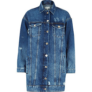 Middenblauw authentiek lang denim jack