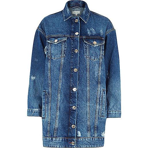 Mid blue authentic longline denim jacket