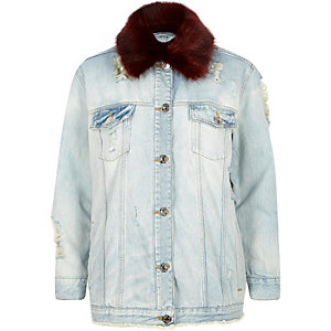 Red fur collar oversized denim jacket