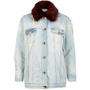 Red fur collar oversized denim jacket