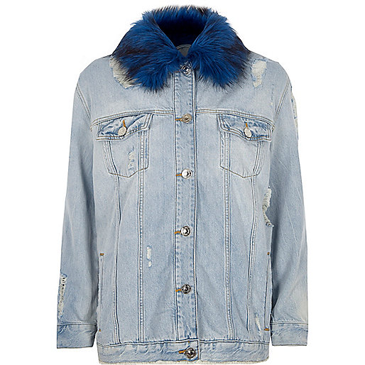 Blue faux fur collar oversized denim jacket
