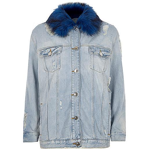 Blue faux fur collar oversized denim jacket
