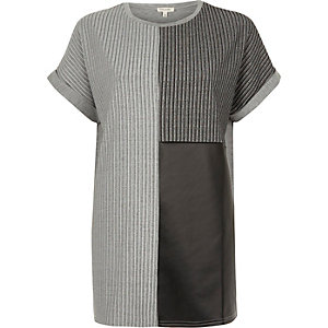 Grey textured colour block boyfriend T-shirt