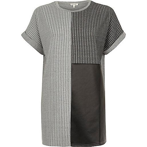 Grey textured colour block boyfriend T-shirt