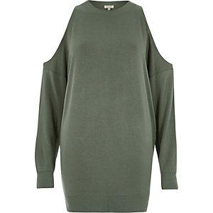 Kaki schouderloos sweatshirt