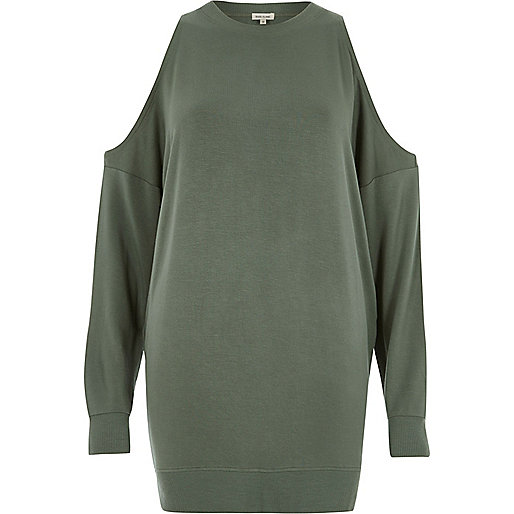 Khaki cold shoulder sweatshirt