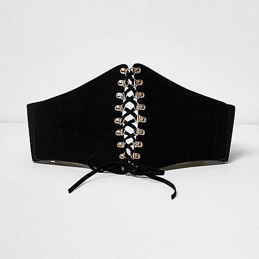 Black wide lace up corset belt
