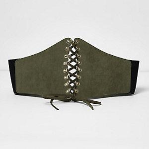 Khaki lace up wide corset belt