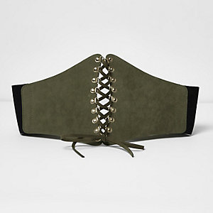 Khaki lace up wide corset belt