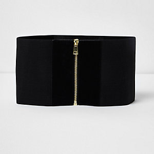 Black elastic wide zip waist belt