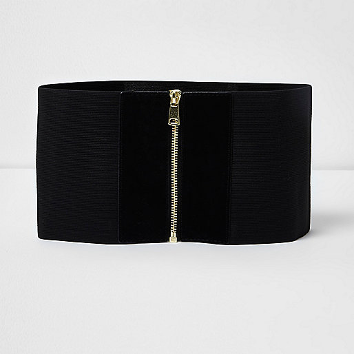 Black elastic wide zip waist belt