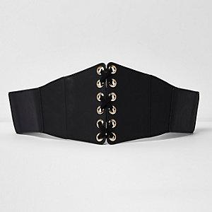 Ceinture en cuir synthétique noire façon corset