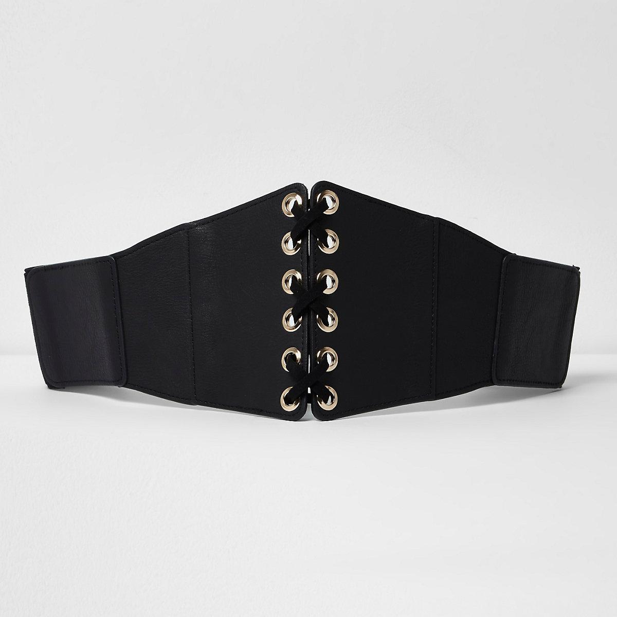 Zwarte brede riem met strik voor