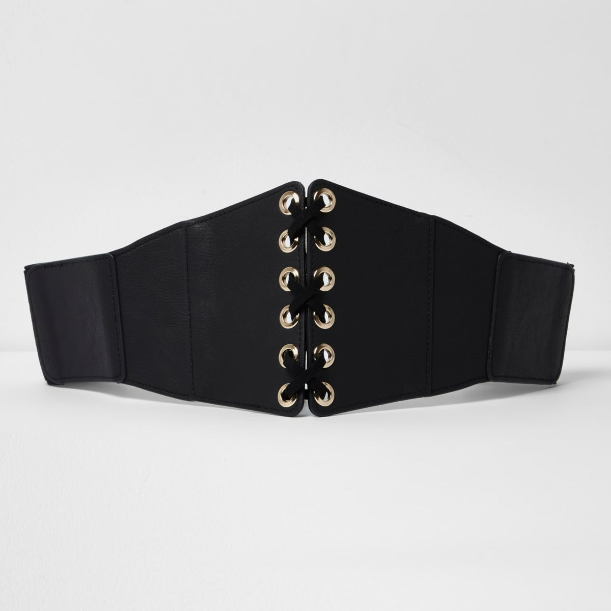 Black wide lace-up front belt