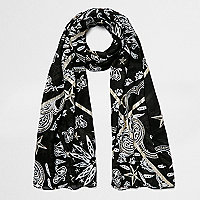 Black paisley foil print scarf