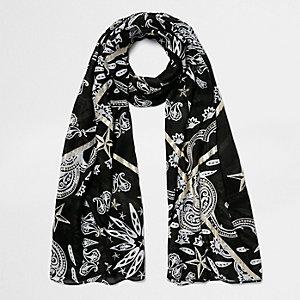 Schwarzer Schal mit Paisley-Print