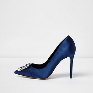 Navy satin rhinestone buckle pumps