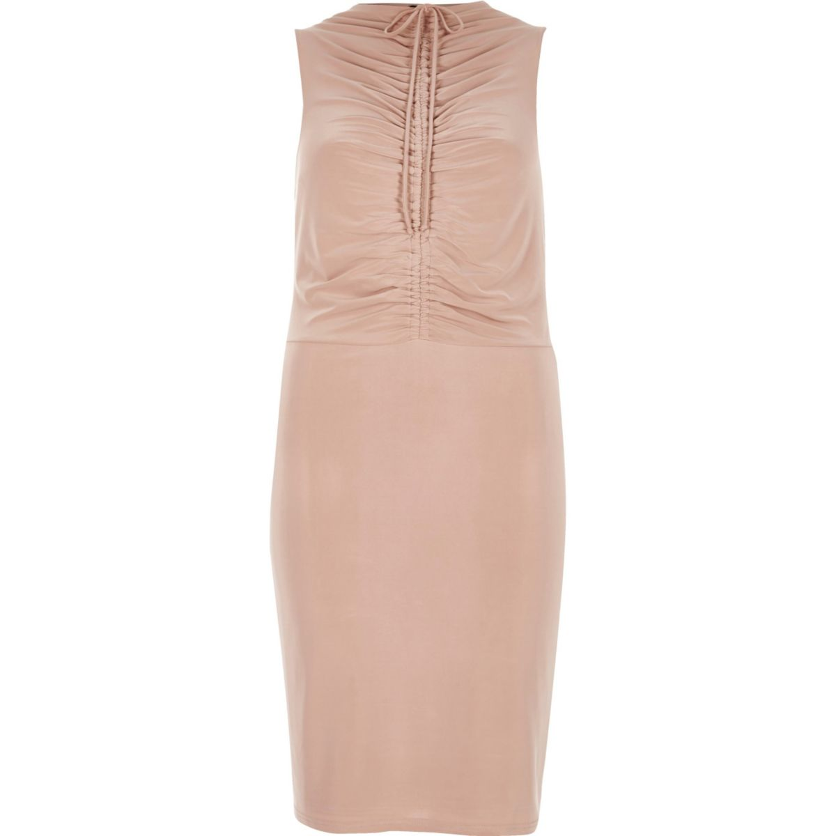 Nude pink ruched bodycon dress