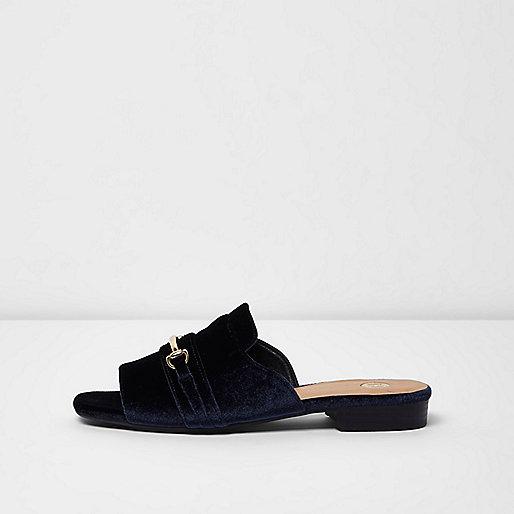 Navy velvet snaffle backless peep toe loafers