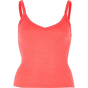 Pink coral ribbed cami top