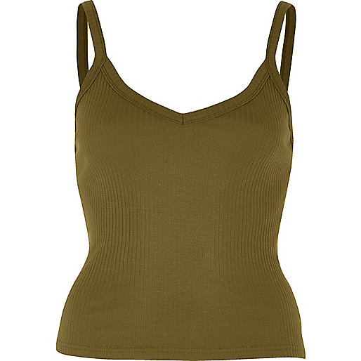 Khaki green ribbed cami top