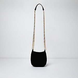 Black suede chain cross body bag