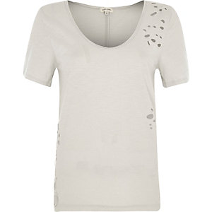 Beige distressed scoop neck T-shirt