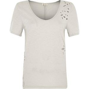 Beige distressed scoop neck T-shirt