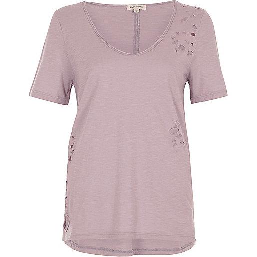 Light purple distressed scoop neck T-shirt