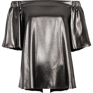 Dark silver metallic bardot top
