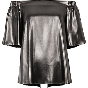 Dark silver metallic bardot top