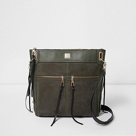 Dark green zip front messenger cross body bag