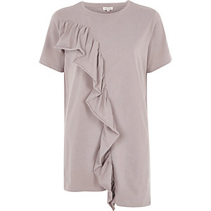 Ligth brown frill asymmetric hem T-shirt