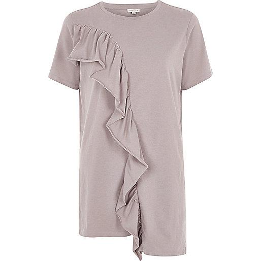 Ligth brown frill asymmetric hem T-shirt