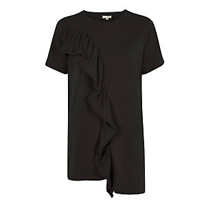Black frill asymmetric hem T-shirt