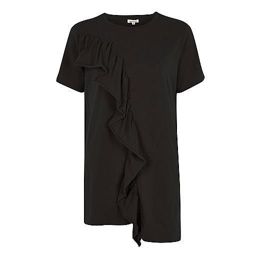 T-shirt noir à ourlet asymétrique à franges