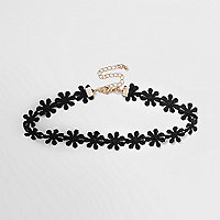 Black floral fabric choker
