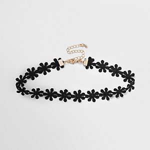 Ras-de-cou en tissu à fleurs noir