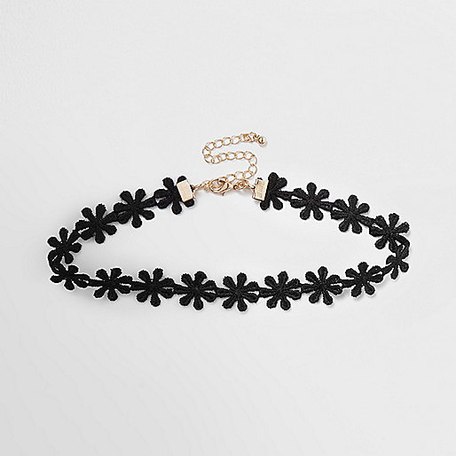 Black floral fabric choker