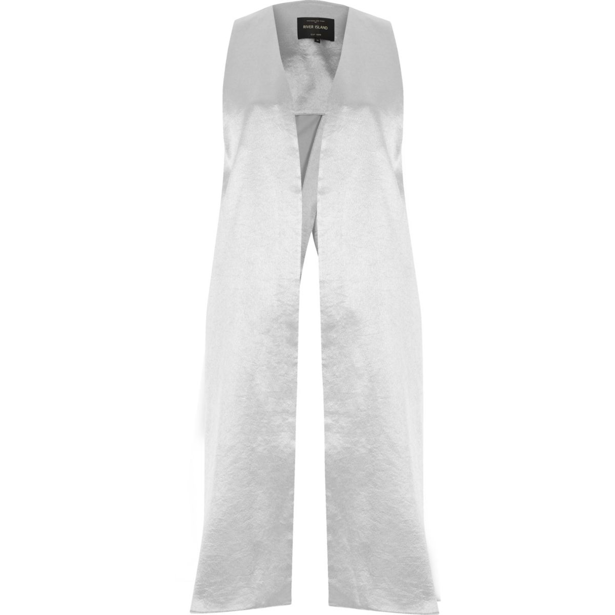 Silver satin split back duster jacket