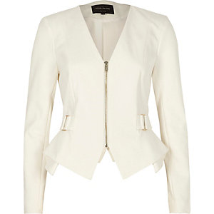 White zip up smart peplum blazer