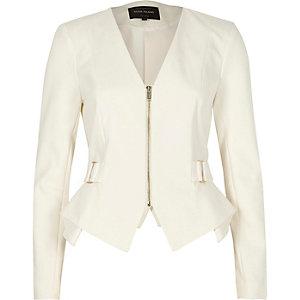 Weißer, eleganter Blazer mit Schößchen