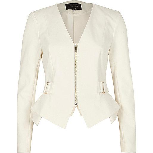 White zip up smart peplum blazer