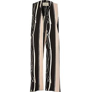 Black and nude stripe print sleeveless jacket